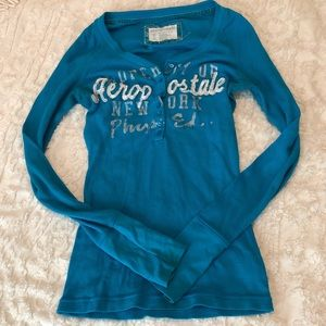 Aeropostale Henley Button Thermal Shirt Turquoise